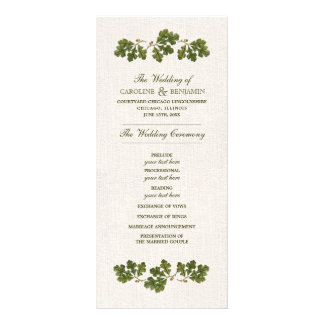 Vintage Oak Leaf design Custom Wedding Programs Rack Card