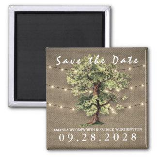 Vintage Oak Tree Rustic Lights Save The Date Square Magnet