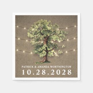 Vintage Oak Tree Rustic Lights Wedding Napkins Disposable Napkins