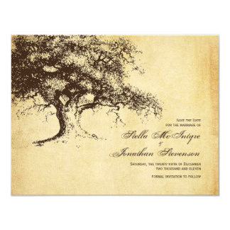 Vintage Oak Tree Save the Date Wedding Card
