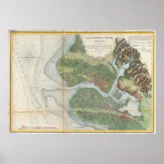 Vintage Oakland and San Antonio Creek Map (1857) Poster