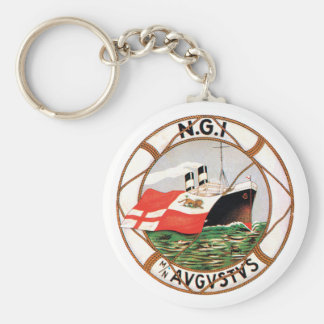Vintage Ocean Liner Label Basic Round Button Key Ring