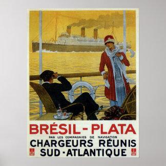 Vintage ocean liner to Brazil Plata ad Poster