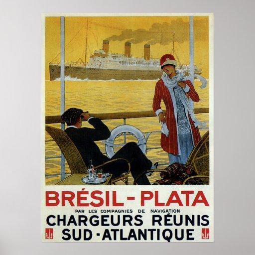 Vintage ocean liner to Brazil Plata ad Print