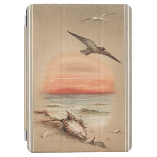 Vintage Ocean Sunset and Seashells iPad Air Cover
