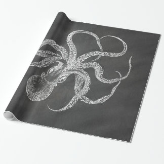 Vintage Octopus Chalkboard Background Template Wrapping Paper