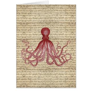 Vintage octopus greeting card
