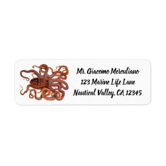 Vintage Octopus Macropus, Marine Aquatic Animals Return Address Label