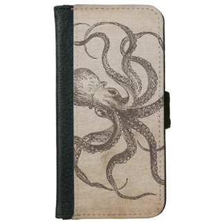 Vintage Octopus Sea Animals Aquatic Life Old Paper iPhone 6 Wallet Case