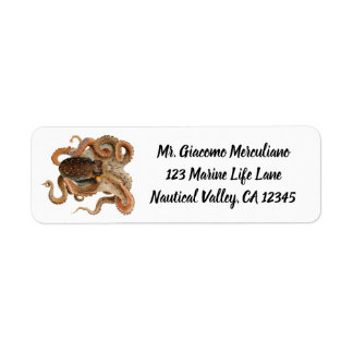 Vintage Octopus Vulgaris, Marine Life Animals Return Address Label