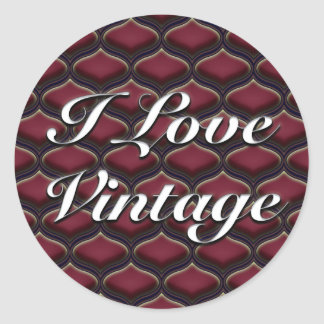 Vintage Ogee Red Berries Classic Round Sticker