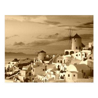 Vintage Oia Santorini Greece Tourism Postcard