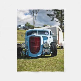 Vintage Old Antique Vehicle and Camper Fleece Blanket