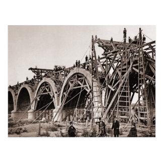 Vintage Old Bridge Construction Postcard
