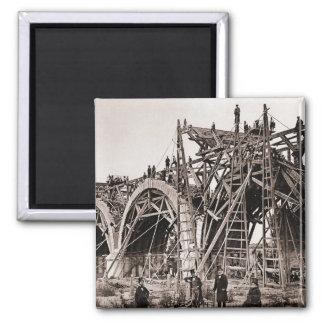 Vintage Old Bridge Construction Scene Magnet