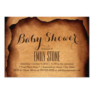 Vintage Old Burned Paper Baby Shower Invitations