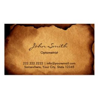 Vintage Old Burned Paper Optometrist Business Card Template