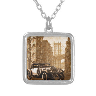 Vintage Old car Silver Plated Necklace