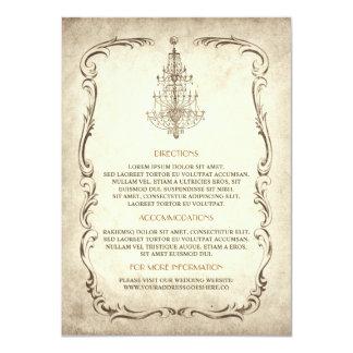 vintage old chandelier wedding details card 11 cm x 16 cm invitation card