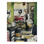 Vintage Old Fashioned Home Kitchen Christmas Postc Post Card