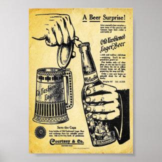 Vintage Old fashioned Lager Beer Print