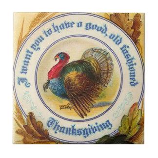 Vintage Old Fashioned Thanksgiving Tile