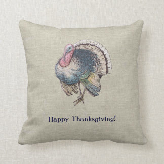 Vintage Old-Fashioned Thanksgiving Turkey Cushion
