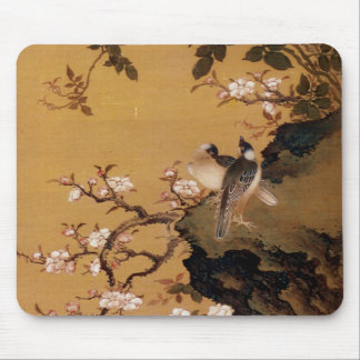 Vintage Old Japanese Painting of Two Birds Mouse Pad