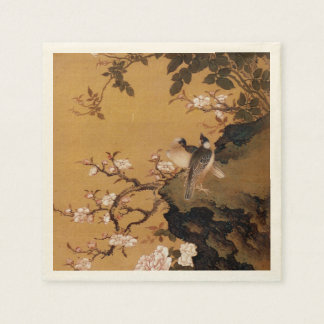 Vintage Old Japanese Painting of Two Birds Paper Napkin