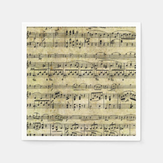 Vintage Old Music Notes Paper Texture Paper Napkins