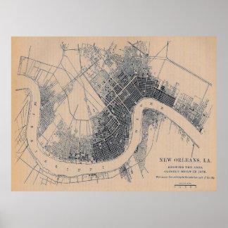 Vintage Old New Orleans Map Poster