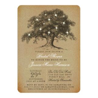 Vintage Old Oak Tree Bridal Shower 13 Cm X 18 Cm Invitation Card