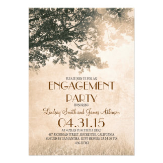 Vintage old oak tree & love birds engagement party announcements