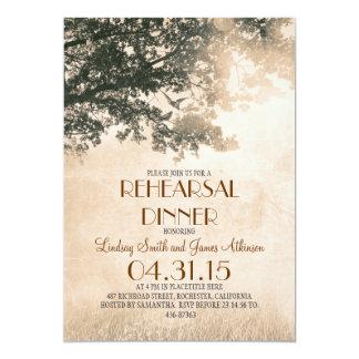 Vintage old oak tree & love birds rehearsal dinner 13 cm x 18 cm invitation card