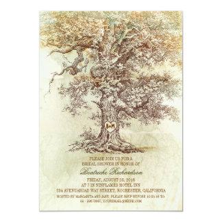 "Vintage old oak tree rustic bridal shower 5"" x 7"" invitation card"