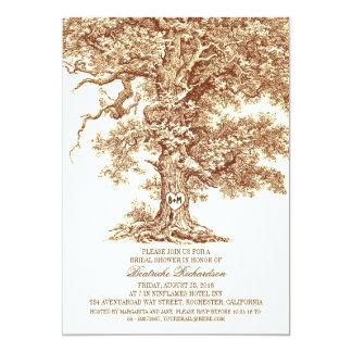 Vintage old oak tree rustic bridal shower 13 cm x 18 cm invitation card