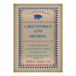Vintage Old Paper Blue Gingham BIRTHDAY BBQ Invite