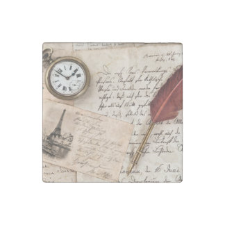 Vintage Old Paper Pen Watch Writing Stamp Postcard Stone Magnet