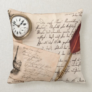 Vintage Old Paper Pen Watch Writing Stamp Postcard Throw Cushions