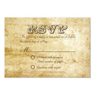 Vintage Old Paper Wedding RSVP Cards 9 Cm X 13 Cm Invitation Card