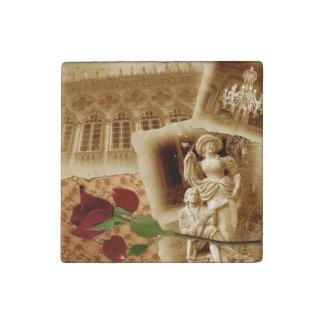 Vintage Old Photos Rose Petals Shabbychic Magnet Stone Magnet