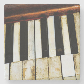 Vintage old piano keys stone coaster