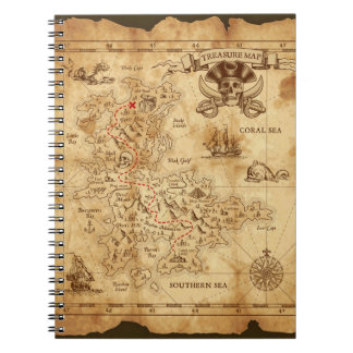 Vintage Old Pirate Treasure Map X Marks the Spot Notebook