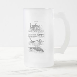 Vintage Old Ploughs Farm Equipment Agriculture Frosted Glass Beer Mug