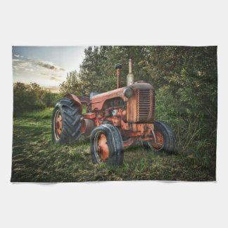 Vintage old red tractor hand towel