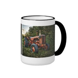 Vintage old red tractor ringer mug