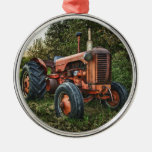 Vintage old red tractor Silver-Colored round decoration