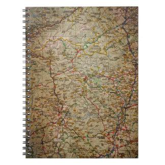 Vintage old road map notebook