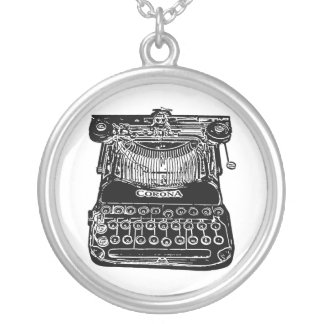 Vintage, old school, typewriter silver plated necklace