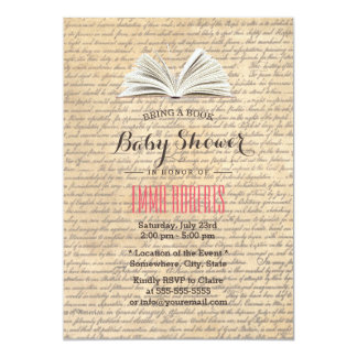 Vintage Old Scripts Bring a Book Baby Shower 13 Cm X 18 Cm Invitation Card